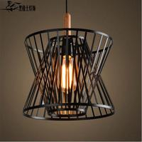 Vintage Black Birdcage Pendant Lights Iron Minimalist Retro Light Loft Lamp Metal Cage Industrial Lighting Pendant