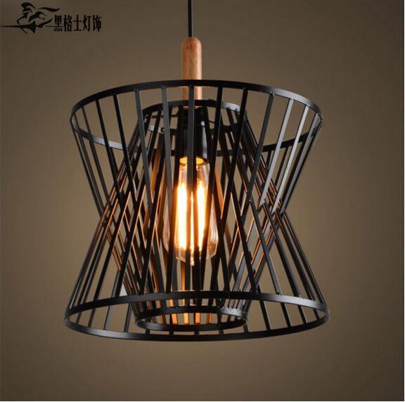 Vintage noir Cage à oiseaux pendentif lumières fer minimaliste rétro lumière Loft lampe Cage en métal éclairage industriel pendentif lumières E27
