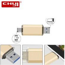 Chyi OTG Тип c USB3.0 флэш-накопитель 16/32/64/128 ГБ ключ Pen Drive Подарок Гаджет двойной разъем flash disktablet смартфон memory stick