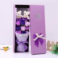 9 subiu sabão flor + bouquet urso caixa de presente de aniversário Dia Dos Namorados romântico sabão flor caixa de presente high-end