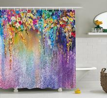 Watercolor Flower Home Decor Shower Curtain Abstract Herbs Weeds Blossoms Ivy Back With Florets Shrubs Design