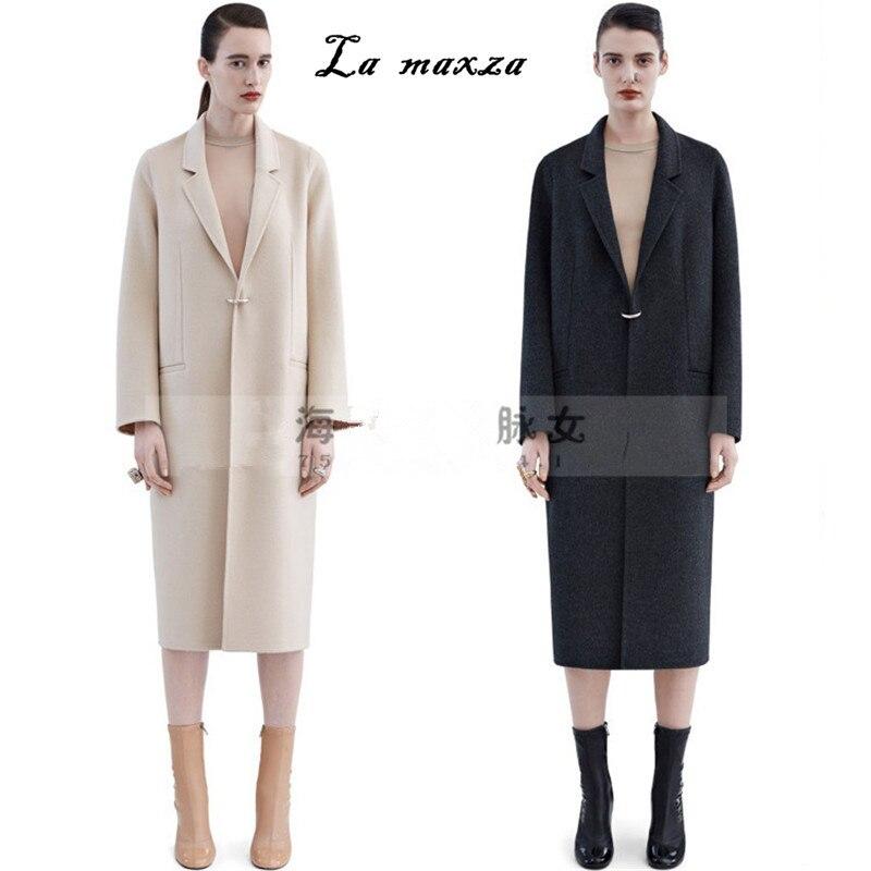 Beige Manteau Coréenne Mode Casual 2018 Femmes Laine Élégant Vintage Vêtements Hiver Lâche Long ardoisé VSUzpqMG