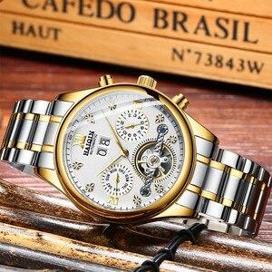 Image 4 - Haiqin relógio mecânico automático, homens relógios top marca de negócios de luxo militar à prova d água relógio turbilhão reloj hombre