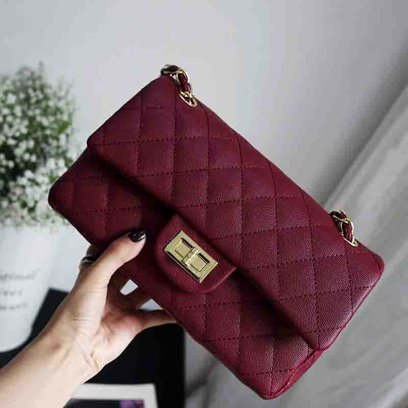 Women Handbag 2018 Caviar Leather Double Flap Classcial Messenger Bags for Woman Chain Crossbody Shoulder bag Lattice Diamond women shoulder bag cossbody handbag genuine first layer of cow leather 2017 korean diamond lattice chain women messenger bag