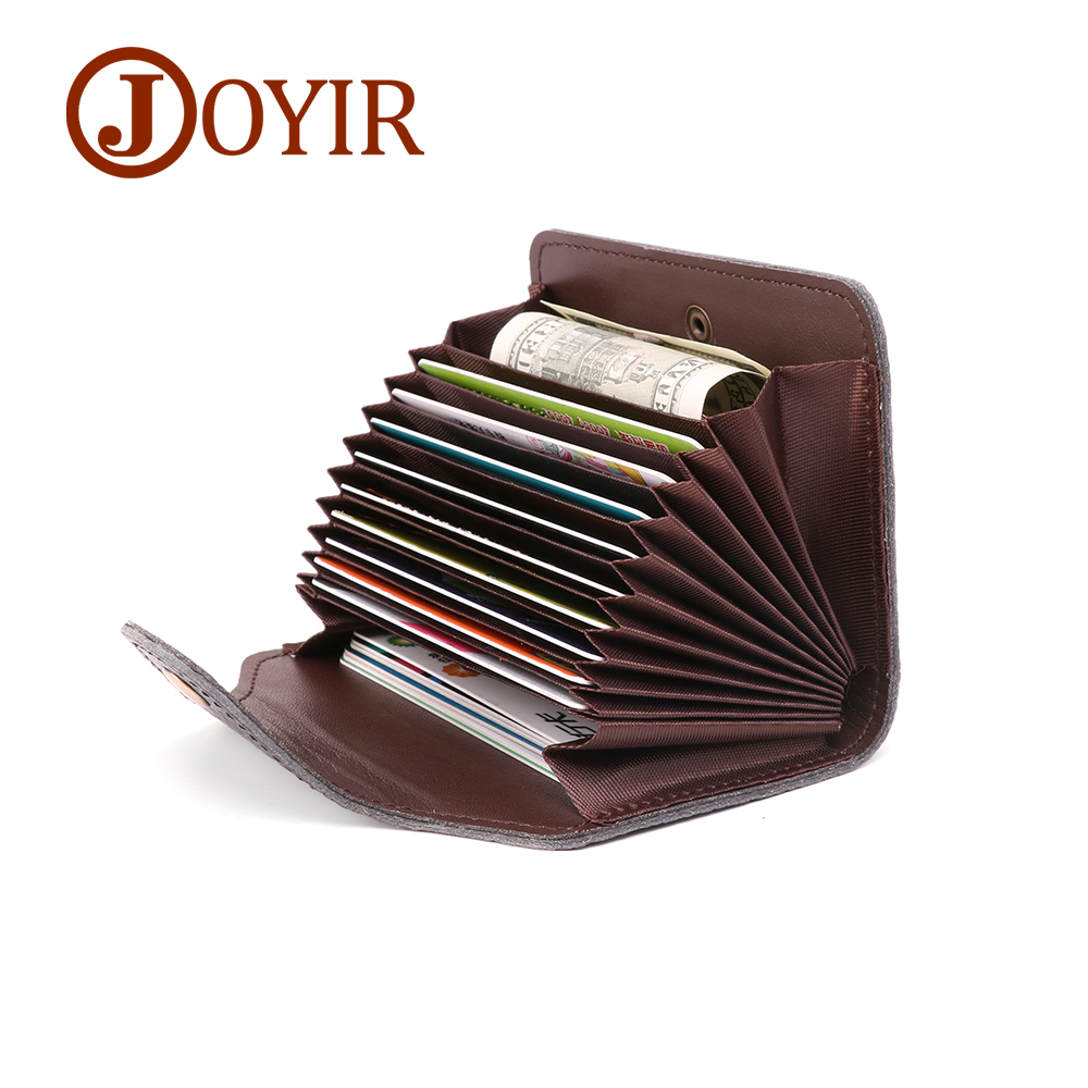 JOYIR Genuine Leather Cowhide Credit Card Holder Men Women Rfid Wallet Business 11 Bits Card Case Purse Unisex Card Id Holders