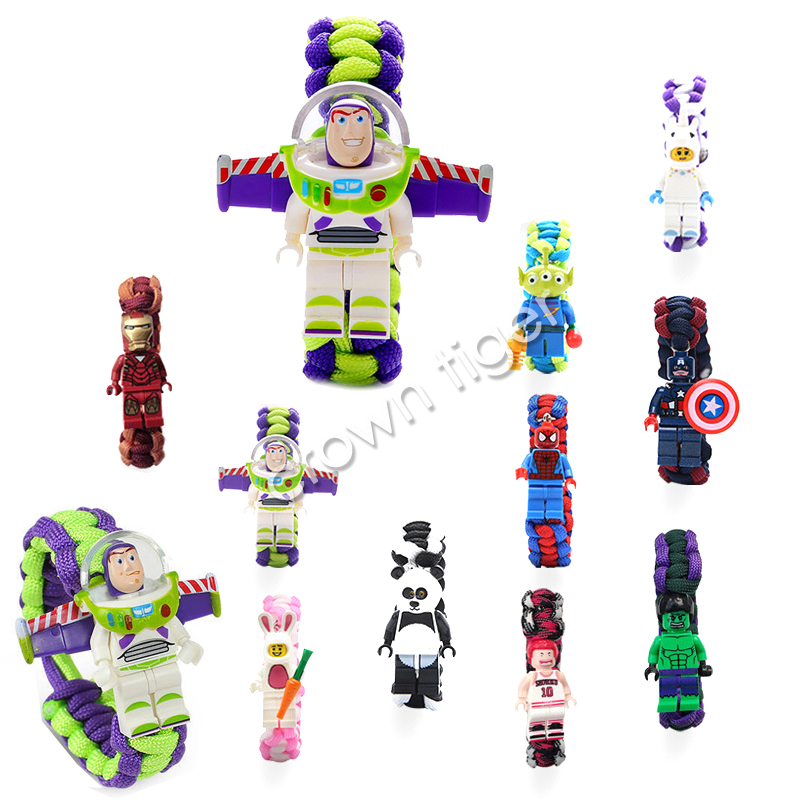 Newtoy Story Buzz Light Year Bracelet Spider Iron Man Avengers Bracelet Building Blocks Action Toy Figure Children Boy Girl Gift