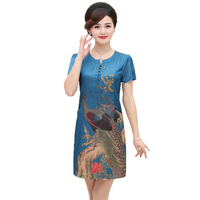 WAEOLSA Chinese Style Woman Silk Dress Blue Red Coffee Color Print Robe Femme Short Sleeve Stain