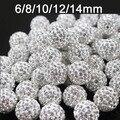 6 mm 8 mm 10 mm 12 mm 100 unids/lote cristal blanco Shamballa del grano del Rhinestone collar de la pulsera Jewerly espaciador de los granos ( envío + regalo libre )