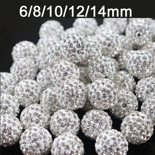 6mm 8mm 10mm 12mm 14mm 100 pcs/lot White Crystal Shamballa Rhinestone Ball Bead For DIY Bracelet Necklace Jewerly