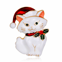 Lovely Cat Brooch for Christmas Party Jewelry Popular Kitten Animal Enamel Pin Black White Women Gift Accessories