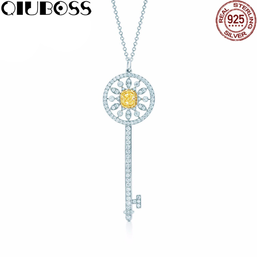 QIUBOSS Brilliant Crystal Key Design TIFF 925 Sterling Silver Pendant Necklace sale Hot Fashion Jewelry corean hot sale fashion and retro style rose shape design necklace