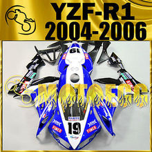 Motoegg Injection Mold  Fairing For YZF R1 YZFR1 04-06 No.19 Blue+Half Tank M39   Motorcycle plastic