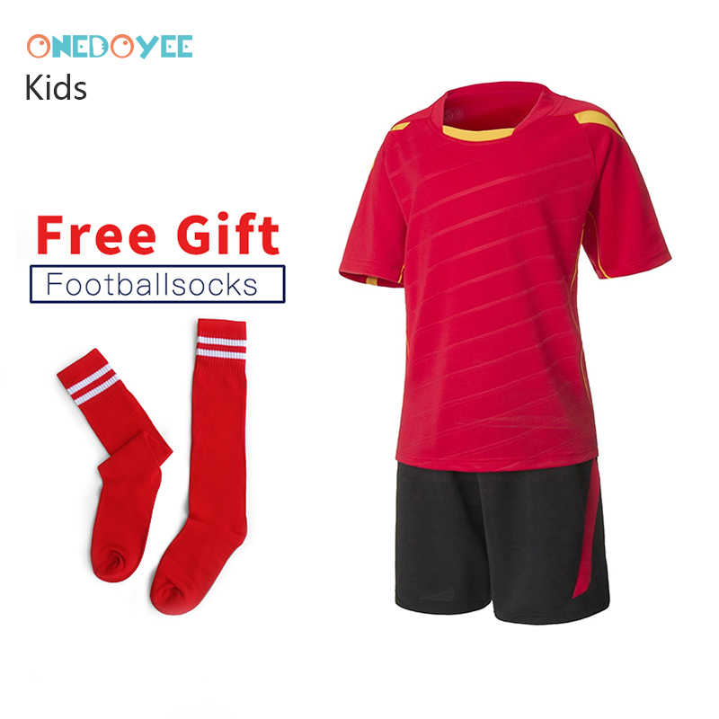 91a255838860 ONEDOYEE New Kids Football Soccer Jerseys Boys Football Training Sets  Breathable Uniforms Kits Shirt Short Child
