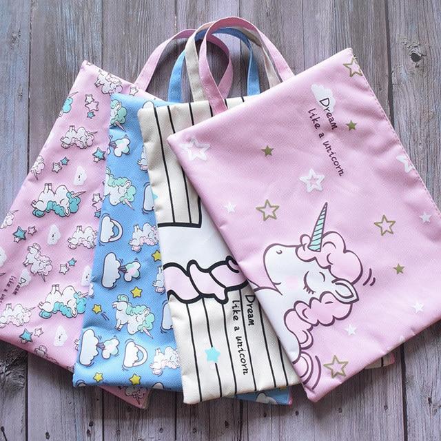 4 Simple Style Canvas Bag Portable Pencil Case Cosmetic Bag