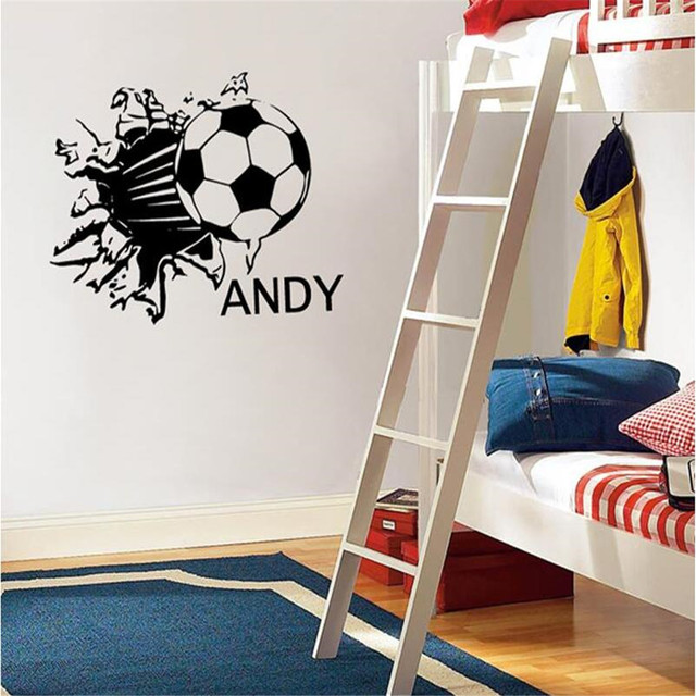 Football Vinyl Wall Decals Personalized Name Sport Wallpaper Wall Stickers  Wall Art Children Kids Room Decoration