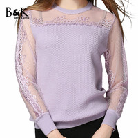 Genuine Original Betty Karma Slim Sweater Women Autumn Wool Top Pullover Sweater Lace Patchwork Cardigan Knitted