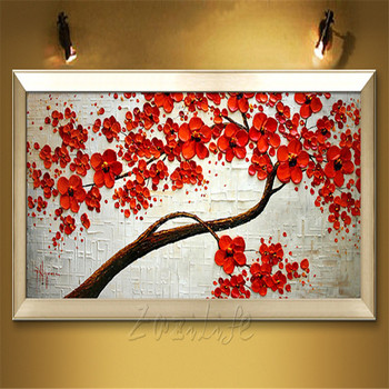 Canvas Painting Hand Painted palette knife 3D texture Flower Tree Wall Pictures For Living Room Christmas decorations for home31