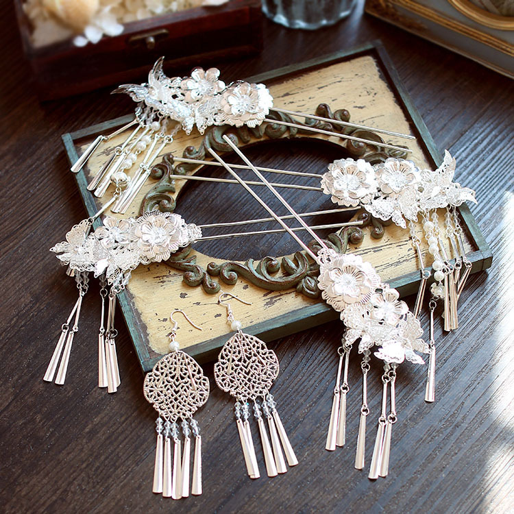 classical Chinese wind Bob step shake suit silver white chinese hair accessories costume ...
