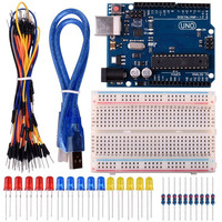 Starter Kit For Arduino With UNO R3 Board USB Cable Breadboard LED Jumper Wire Free Shipping