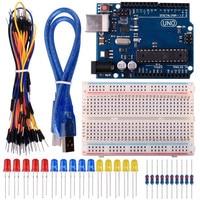 Starter Kit לarduino עם UNO R3 + כבל USB + טיפוס + משלוח חינם חוט מגשר LED