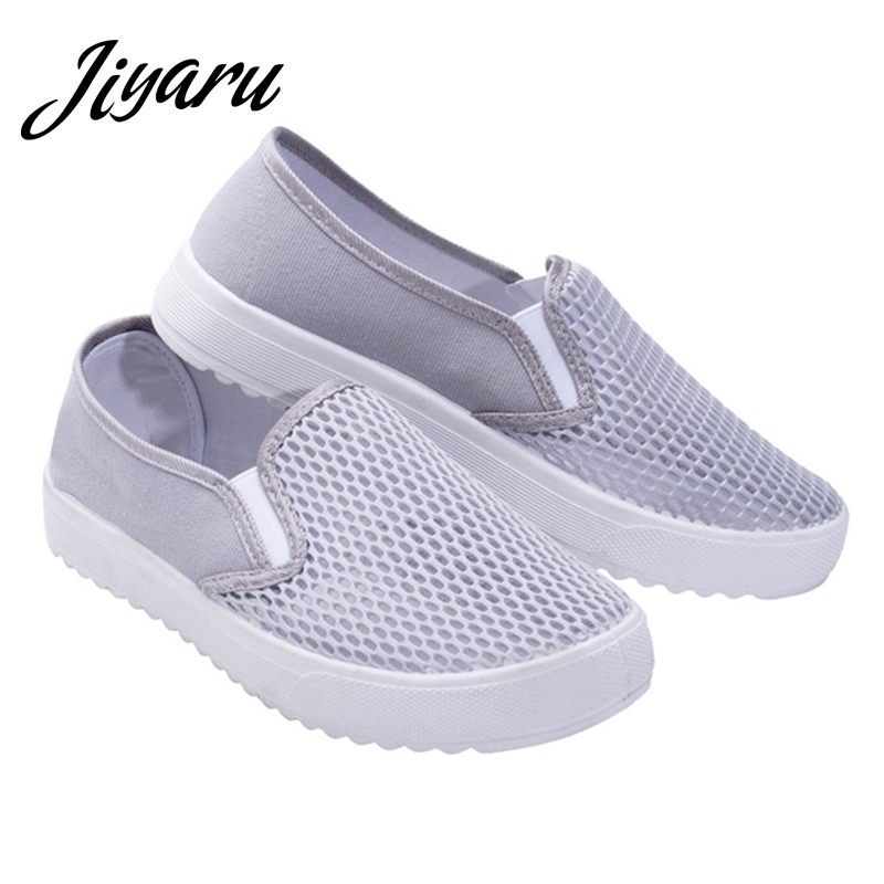 Summer Autumn Women Flats Breathable Mesh Female Sneakers Slip-on Women Girls Casual Shoes Spring Autumn Outside Flat Sneakers instantarts casual women summer flat shoes cute dog alaskan malamute flower print female air mesh shoes fashion slip on sneakers