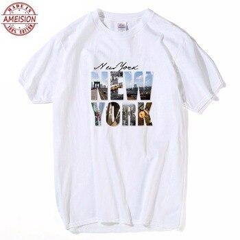 b4748c237a39d HanHent Нью-Йоркская Футболка с принтом Мужская рубашка короткий рукав  повседневные топы мужские летние мужские футболки мода 2019 футболка homme .