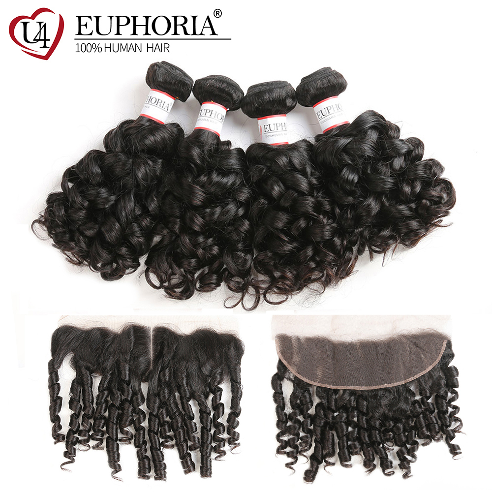 Bouncy Curly Human Hair Bundles With Lace Frontal 13x4inch Euphoria Natural Color Brazilian Remy Human Bundle Hair With Closure