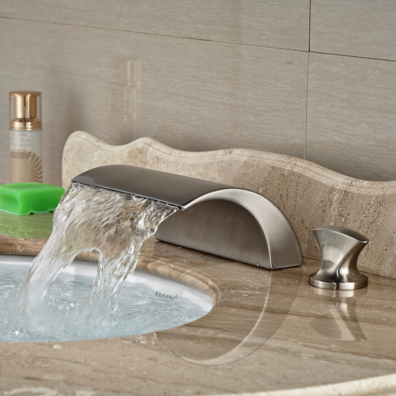 все цены на Brushed Nickel Solid Brass Deck Mounted Wash Basin Sink Mixer Faucet Waterfall Spout онлайн