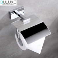 BULUXE Brass Bathroom Accessories Toilet Paper Holder Chrome Finished Wall Mounted Bath Acessorios de banheiro HP7758