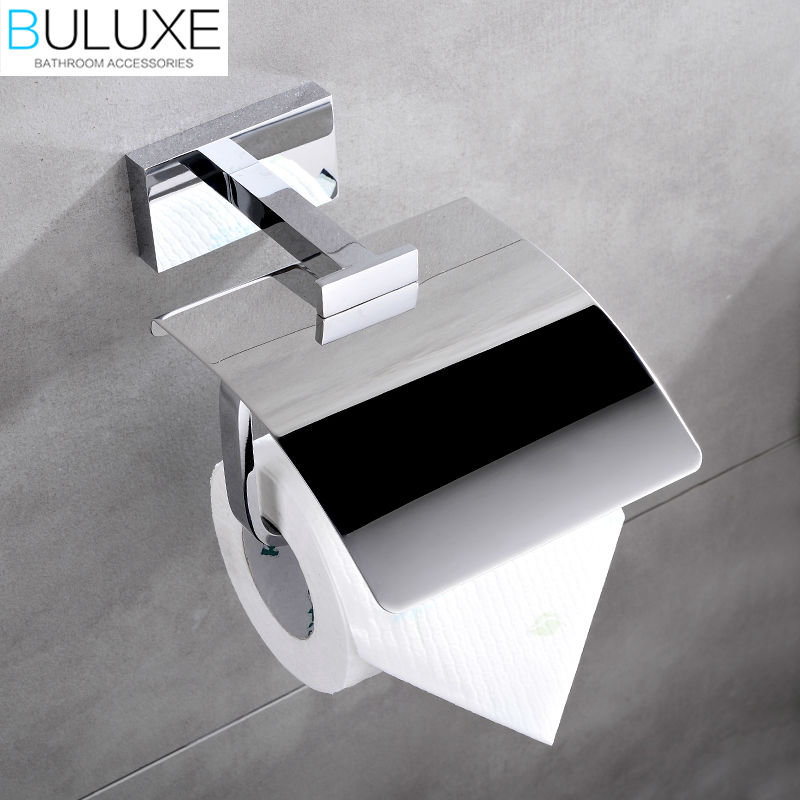 BULUXE Brass Bathroom Accessories Toilet Paper Holder Chrome Finished Wall Mounted Bath Acessorios de banheiro HP7758 buluxe brass bathroom accessories towel bar rack holder chrome finished wall mounted bath acessorios de banheiro hp7736