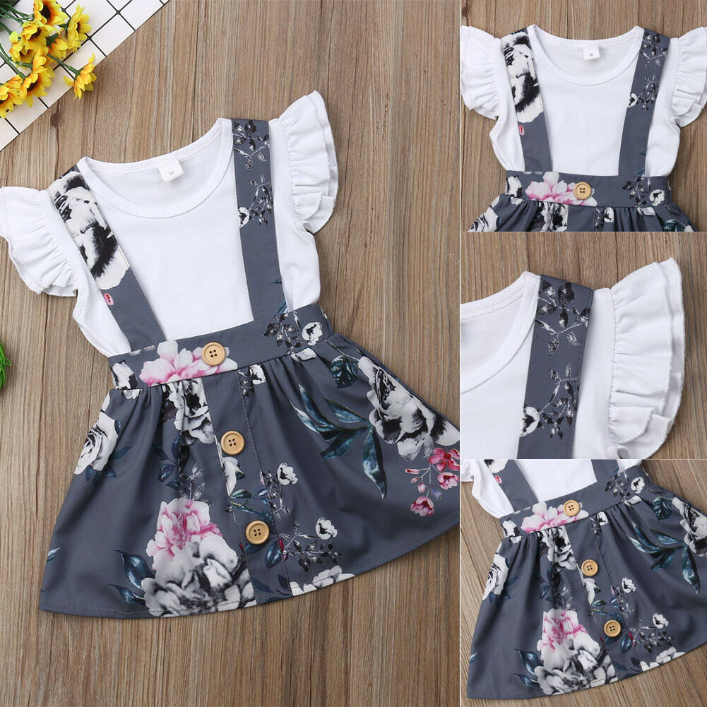 Newborn Baby Girl Clothes Fly Sleeve Bodysuits+Flower Print Strap Skirt 2pcs Summer Outfits