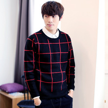 round neck long sleeve pullovers fashion men's plaid knitting sweater