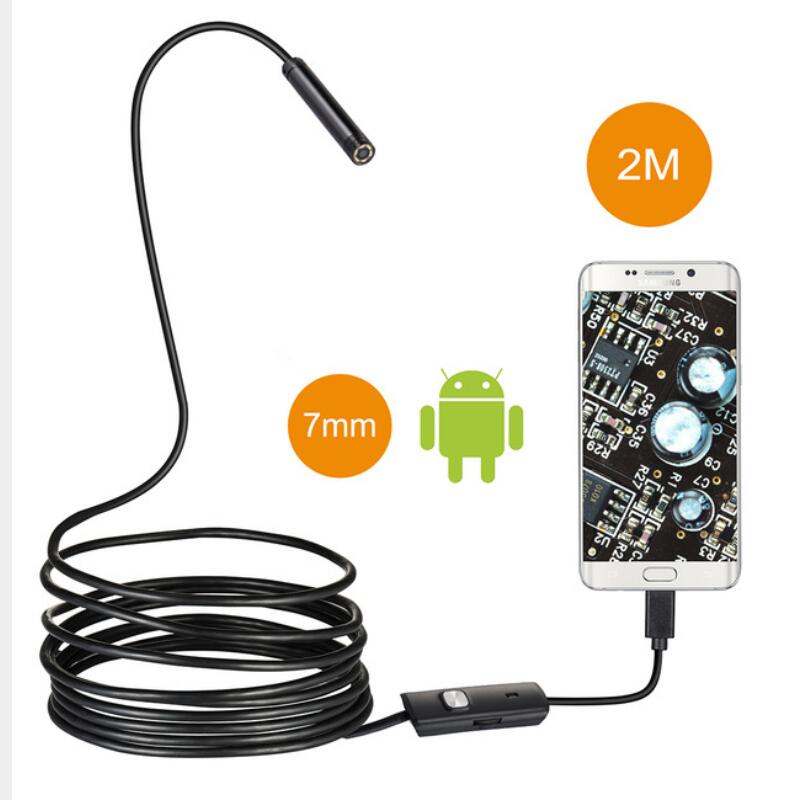 Waterproof 7mm Lens 2M Endoscope 6 LED Inspection Camera Mini 2 in 1 USB interface Borescope Tube For Android PC Computer black hot 6 led 5 5mm lens android usb endoscope waterproof inspection borescope tube camera 2m an endoscope for phone