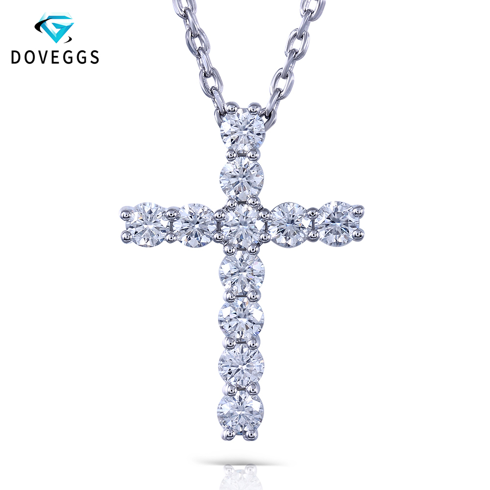 DovEggs Platinum Plated Sterling Silver 1.1ctw GH Color Moissanite Diamond Pendant Necklaces For Women Cross Shaped Necklace transgems platinum plated silver 0 385ctw round brilliant moissanite v shaped pendant necklace for women