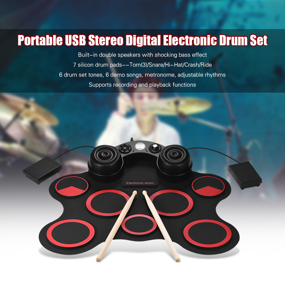 MMFC-Stereo Electronic Drum Set 7 Silicon Electronics Drum Pads Built-in Speakers USB Recording Function with Drumsticks Pedal