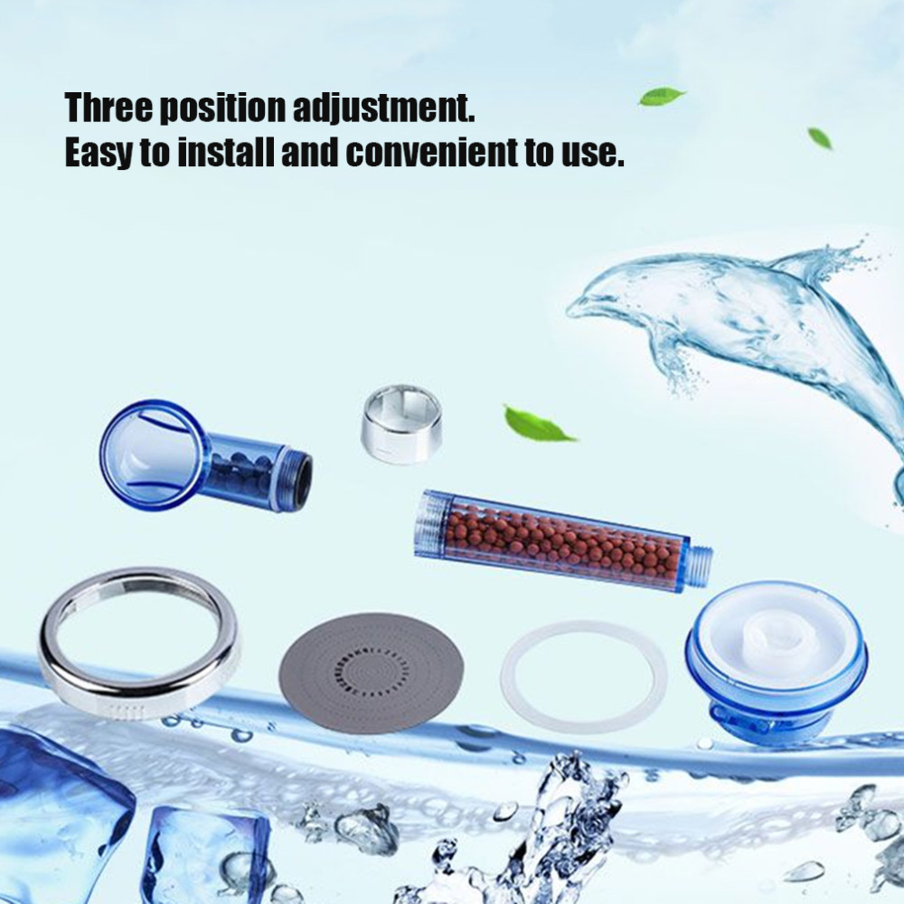 Healthy Negative Ion SPA Filtered Adjustable Shower Head with Shower Hose Three Shower Mode Negative Lon SPA ShowerHead dropship 3