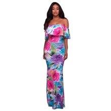 Women Summer Boho Long Maxi Beach Dress Sexy Female Off the Shoulder Short Sleeve Dress Floral