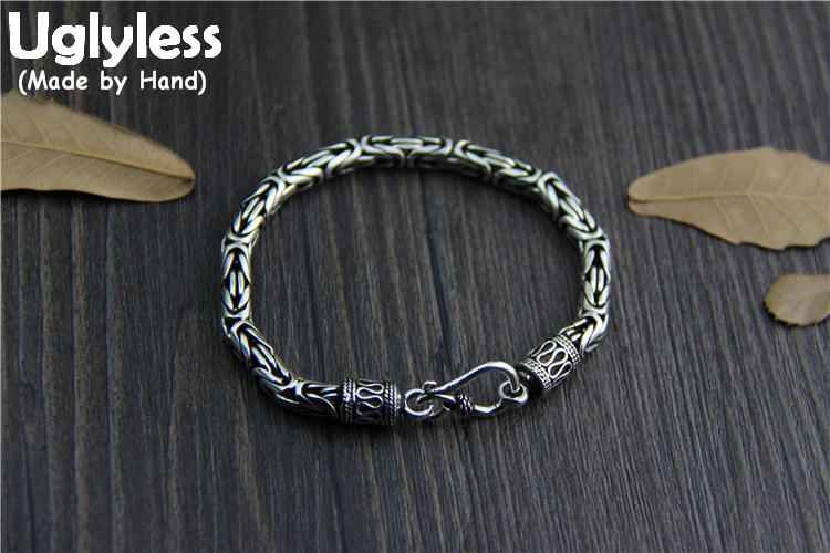Uglyless Real S 925 Vulcanized Thai Silver Unisex Handmade Thick Bracelets Men Women Vintage Ethnic Chains Bracelet Fine Jewelry ethnic wind bracelets men and women decorations green agate 925 silver ball duobao string original jewelry