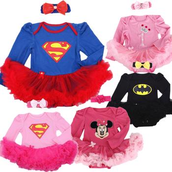 Noworodek Baby odzież ubrania dla niemowląt Superman Baby Christmas kostiumy koronki Romper sukienka 1 urodziny stroje Bebe kombinezon tanie i dobre opinie Dziecko Sets yan4896 WbqKCdf Bawełna Kreskówki Styl Europejski i amerykański Regularne Sweter Jersey O-Neck Pełne Baby Girls