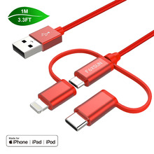 цена на Foxsun Multiple 3 in 1 Cable 1M For Lightning Cable Micro USB Cable Type C Cable For iPhone X 8 7 6 6 Plus Samsung S8 Huawei