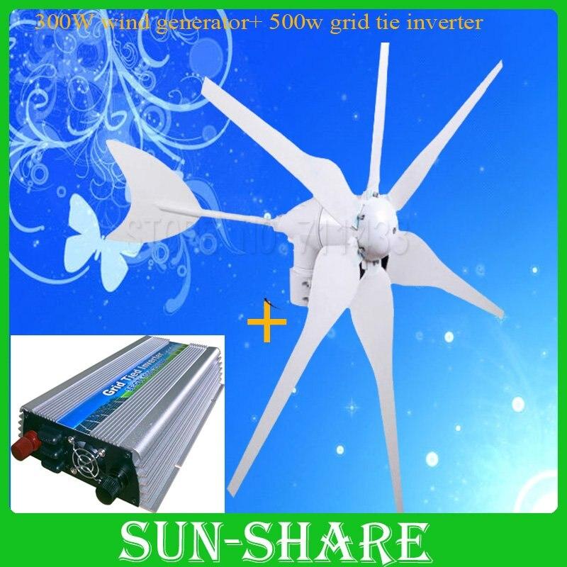 DHL free shipping 300w wind generator +500w DC 15V-30V wind grid tie inverter output AC110v-190v/AC180V-260V new wind power dc motor generator dc12v 48 v and diy free shipping 1278