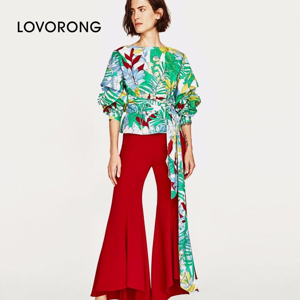 LOVORONG female T-shirt Women Fashion bohemian O-Neck Sashes top cloth Female casual Chiffon lantern sleeve Shirt tops