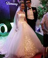 Luxury Ball Gown Wedding Dresses With Long Sleeves 2017 Style Bridal Dresses Sashes Party Gowns Fairytale Princess Court Train