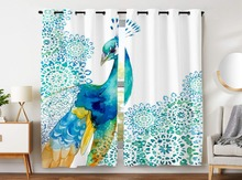 Blackout Curtains 2 Panels Grommet for Bedroom Beautiful Peacock Animal Watercolor Hand Drawn Girl