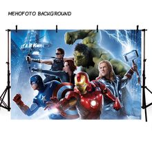 Cartoon Film Marvel's Avengers Theme Birthday Photo Backdrop Baby Children Party Fotografia Backgrounds for Photo Studio(China)