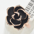 Italina Black Rose Flower Wedding Rings for women Jewelry  Gold plated Crystals Rings female Anel Gifts Bijoux Top quality