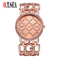 O T Sea Brand Watch Women Alloy Dial Quartz Analog Rhinestone Bracelet Watch Luxury Wrist Watch