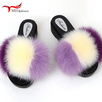 2019 fashion ladies slippers 100% fox raccoon fur slippers female beach fluffy slippers furry high soled shoes women sandals F1