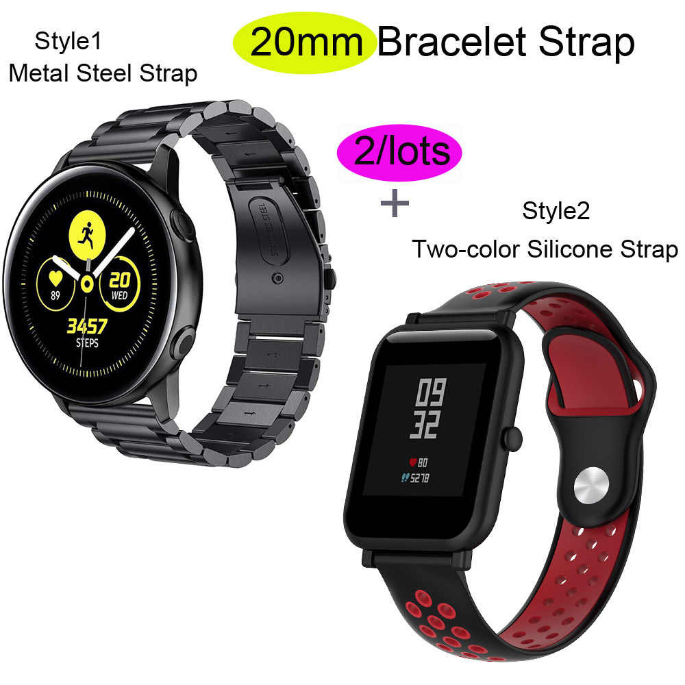 For Xiaomi Amazfit GTS Bracelet Amazfit Bip Watchband Amazfit GTR 42mm Stainless Steel Band Silicone Watch Strap