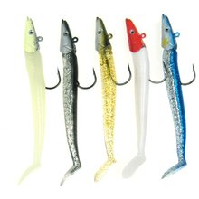 5Pcs 12cm 22g 3/4oz QualyQualy Sinking Pencil Shaped Glow Jig Head Soft Fishing Lure Bait with Hooks